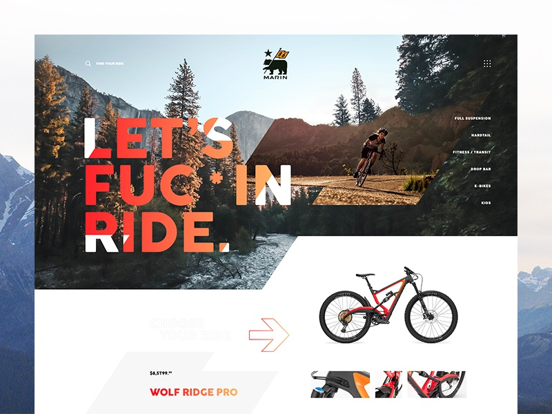Let's F***in Ride. bear gradient exploded grid layout flag web design ui ux forest green ride bikes marin