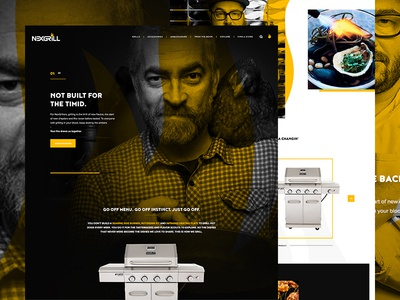 Throwback Wednesday. concept food photography food typography exploded grid web design ui ux flame black and white black and yellow grill