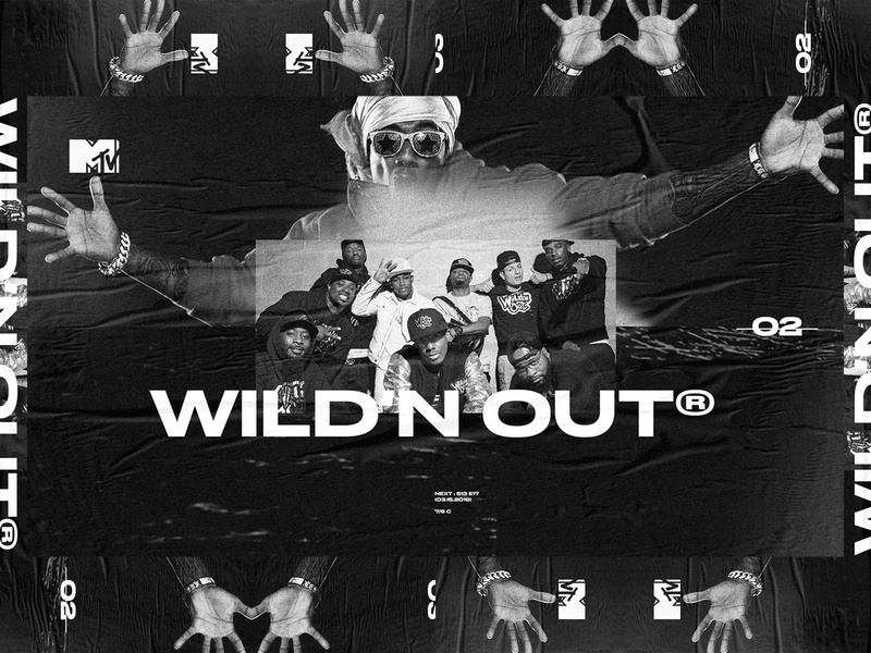 WILD'N OUT web design ui ux typography poster noise mtv layout grunge grid exploration layers exploded grid dark black and white