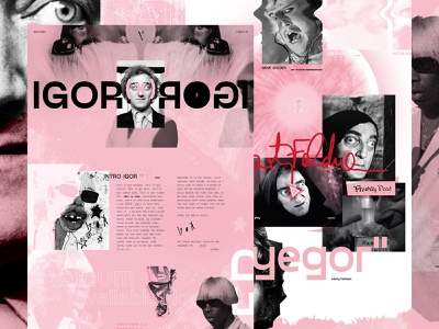 IGOR (x) ROGI typography young frankenstein grunge white pink tyler the creator igor web design grid layout ui ux texture exploded grid grid mocktober