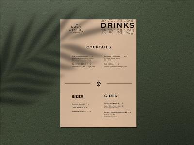The Lost Ritual Drink Menu Design typography food and beverage print design layout branding and identity identity logo design beer wine drink cocktail bar restaurant menu print logo branding