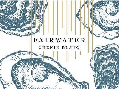 Fairwater gold blue white ocean water foil illustration print wine label