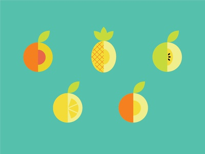 Fruit Symmetry packaging color minimal print wine label vector illustration