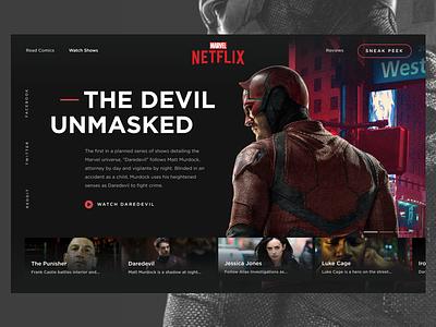 Marvel | Netflix Concept netflix daredevil ui design marvel web design screen design