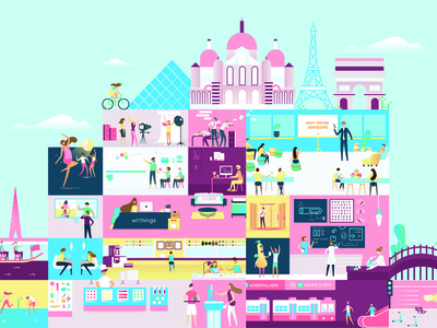 Our World healthmate bosotn hongkong paris office labs vector connected devices health withings branding illustration