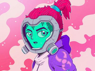 Quarantine quarantine virus self isolation isolation death stranding gas mask pink female girl colourful manga anime doodle drawings ipadpro procreate drawing illustration coronavirus covid19