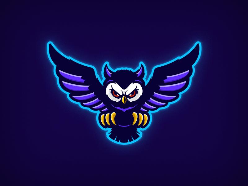 E-sports Owl flat design vector minimal 2d fly illutstration twitch esports logos esports logo bird owl