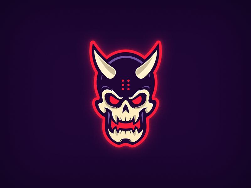 Demon Skull Logo minimal vector design illustration mascot design mascotlogo mascot esportslogo esports logo demons demonic skeleton scary evil doom demon