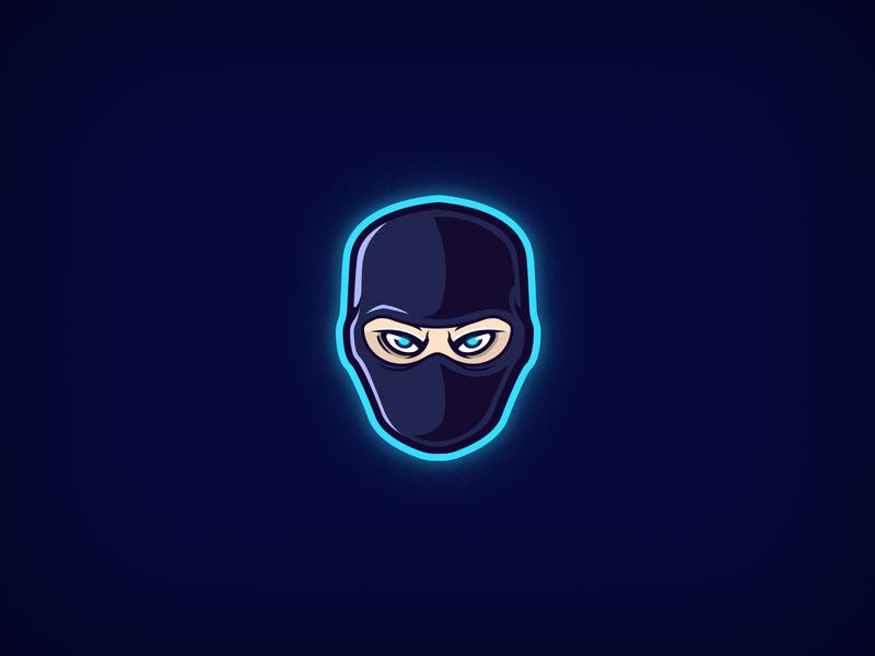 Ninja flat 2d character design mascot logos esports logo esports vector face mask ninja