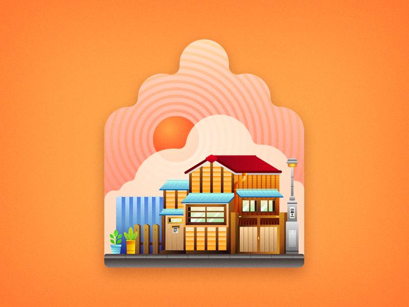 Japanese House home street sun cloud oriental asian japan japanese minimal vector house