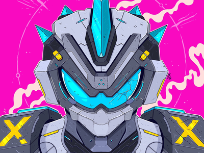 Shard bright colourful cool power armour armour tech anime cyberpunk machine mecha mech robot