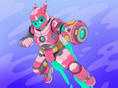 Cosmic Girl iron man ironman mech robot cyberpunk rocket laser scifi sci-fi colourful illustration cool anime cosmic gun buster megaman space astronaut girl