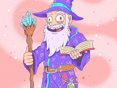 Wizard character funny character beard illustration procreate crystal funny cloak harry potter book staff magical rick and morty crazy cartoon fantasy magic wizard