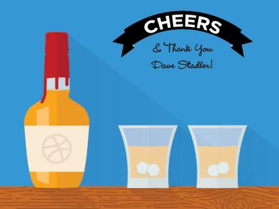 Dribbble First Shot - Thanks Dave! drinks bar liquor illustrator illustration flat design kentucky draft thanks invite makers mark bourbon