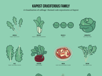 Cabbage Poster flat design brussel sprouts bok choy illustration vegetables watercress wasabi radish mustard kale cabbage arugula