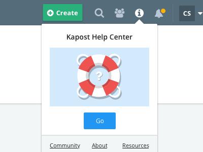 Kapost Top Nav call to action design app top navigation user experience ux info help center help sketch illustration illustrator