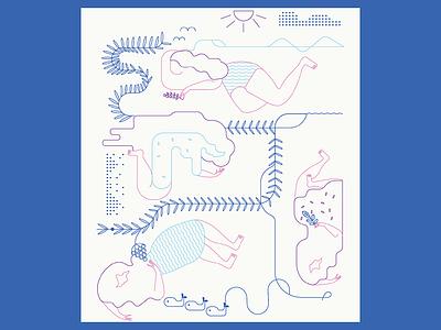 Illustration for calendar summer calendar girls line illustration design vector clean