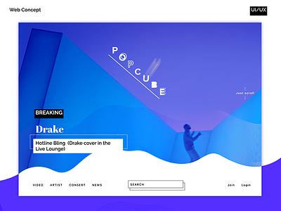 Web player ux music drake psd ui player news wave concept design video web