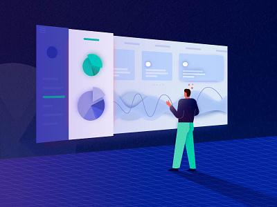 Dashboard illustration blue diagram interface ux ui illustration man dashboard