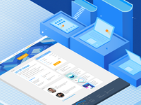 Guru IT School isometric register web design website ui ux illustration isometric