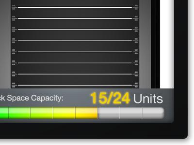 RackBuilder Capacity Gauge app ui web render 3d design