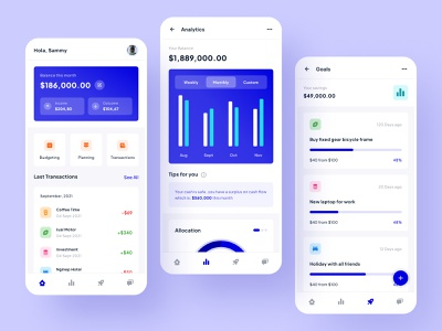 Financial Records - Mobile App clean gradient chart stats financial record financial app ui