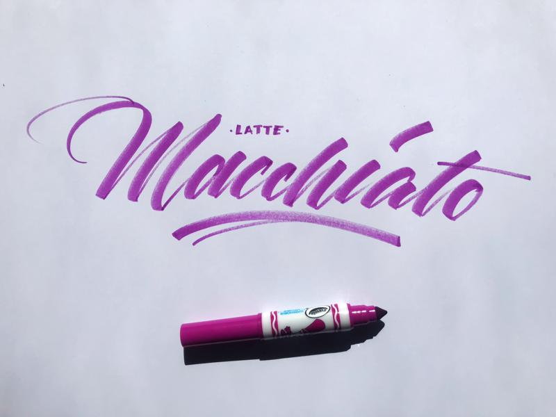 Latte Macchiato hand lettering brush lettering brushscript