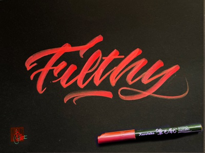 Filthy handwriting brush lettering brush and ink brush calligraphy brush script hand lettering