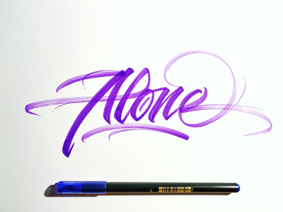 Alone brush script brush lettering handwriting
