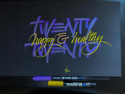 Twenty Twenty illustration handwriting brush lettering brush and ink brush calligraphy hand lettering brush script