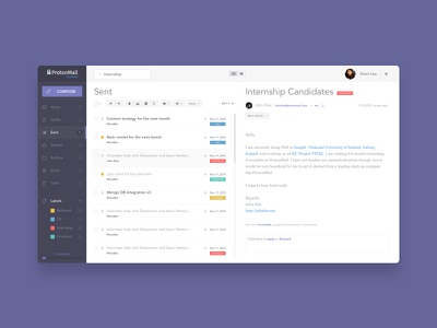 ProtonMail mail Redesign  firstshot webdesign ux experience user mail interface flat design application ui webmail redesign