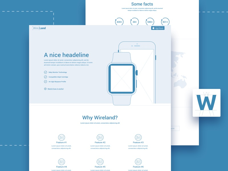 Wireland - Wireframing Template for Web Design Projects