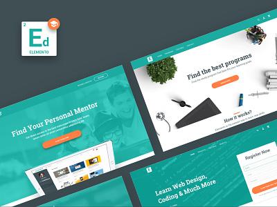 Education Template sketchapp clean landing page illustration web website ui kit design sketch kit template ux ui