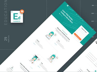 Web Templates for Education Projects sketchapp web education landing page design ui kit illustration website sketch kit template ux ui