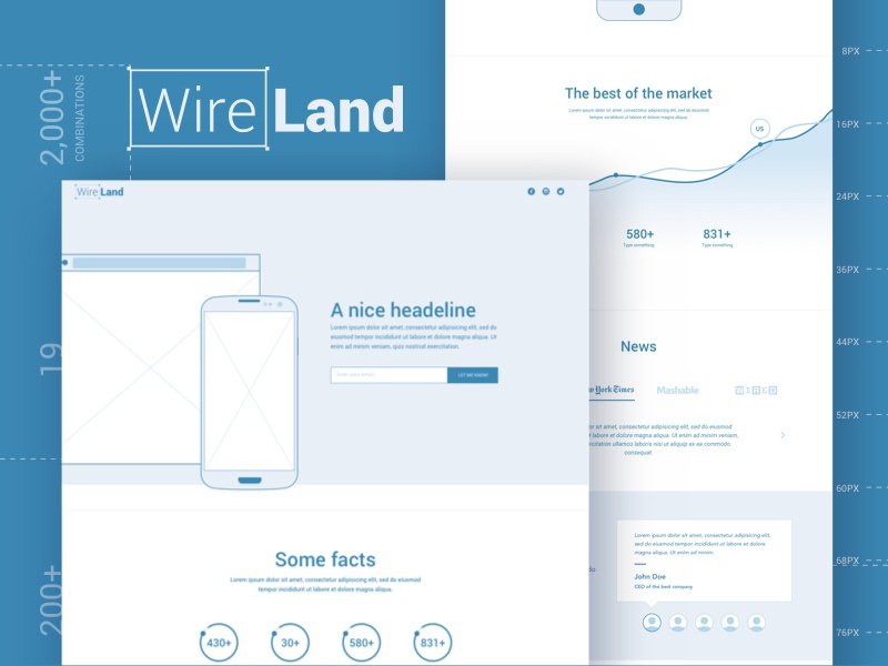 Wireframe Layout Collection sketch sketchapp design startup landing page multipurpose wireframe ui kit website kit template ui ux