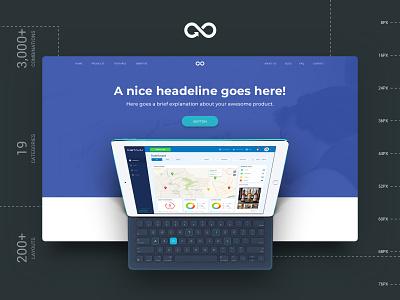 Header Styles Collection header web sketchapp landing page startup multipurpose website design kit sketch template ux ui