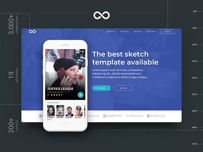 Header Styles Collection #4 header design modern sketchapp web landing page startup multipurpose website design kit sketch template ui