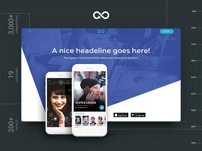 Header Styles Collection kit sketchapp template landing page web startup multipurpose website ui kit design sketch ux ui