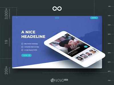 Header Styles Collection sketchapp web landing page multipurpose website design kit sketch template ux ui