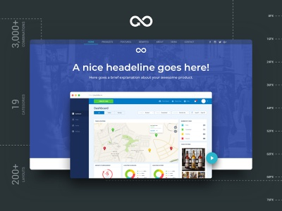 Header Styles Collection header sketchapp web startup landing page ui kit multipurpose website design sketch template ux ui