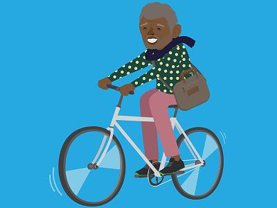 Bike to work Black Opa character 2d illustration bike zurich btw velo