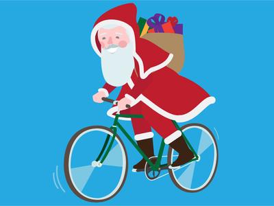 Biketowork Santa Claus zurich velo illustration character btw bike 2d