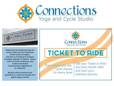 Connections Yoga and Cycle Studio - Rebrand vector icon typography logo design branding