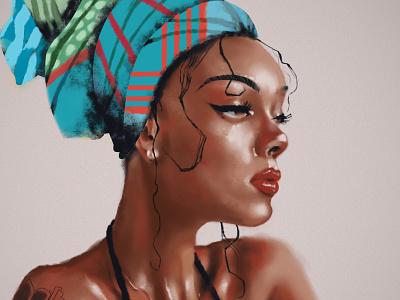 Headwrap digital illustrator digital artist girl illustration girl digital painting art artwork design digital digitalart colors illustration illustrator colorful color