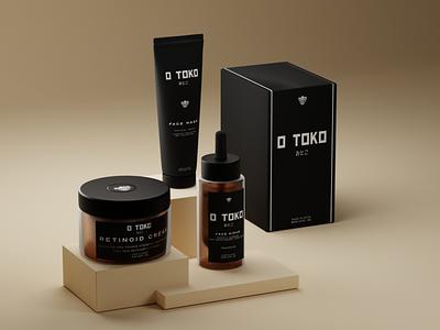 O Toko Skin Care Line Packaging 3d render black  white blackandwhite oni japanese japan black 3d artist 3d art 3d blender3d packaging skincare packagedesign package packaging design