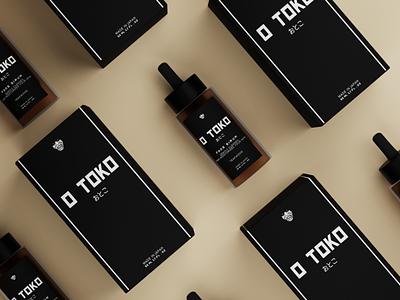 O Toko Sirum black  white skincare japanese japan 3d packaging blender 3d mock-up packagingdesign packagedesign packaging product black and white black