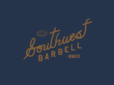 Southwest Barbell gold blue barbell gym vintage logo