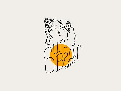 Sun Bear Logo illustraion yellow coffee minimalist minimal logo bear