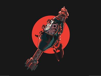 Daruma Mortar art japanese daruma illustration