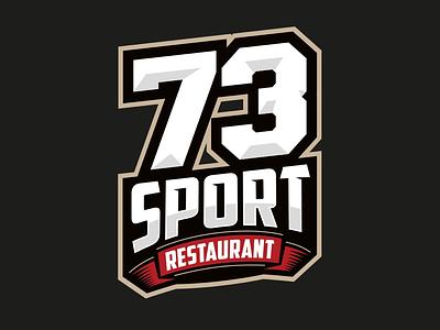"""73 Sport Restaurant"" Logo and identity graphic design sport restaurant brand identity restaurant branding sports logo emblem logo logotype design identity design 73 restaurant logo"